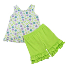 simple printed boutique girl clothing summer new design knit cotton kids clothing sets girls ruffle outfits