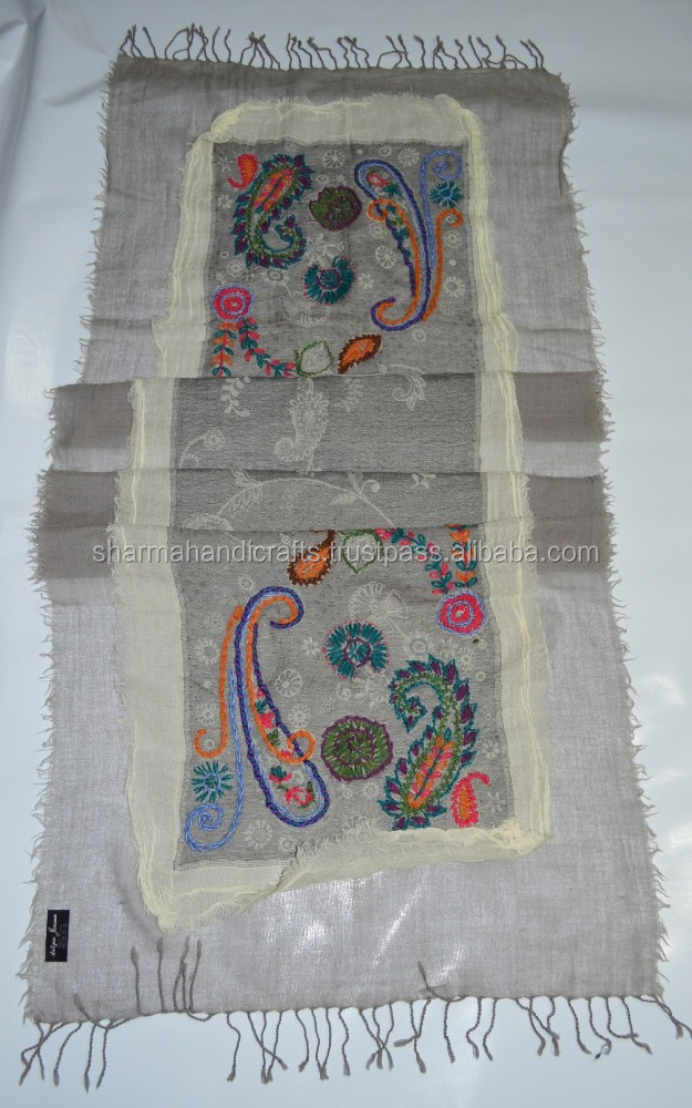 high quality eye catching hand embroidery wool scarf