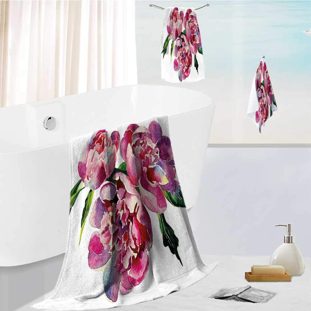 """Miki Da Hotel Bath Towel Set Romantic Roses Art Pink Lilac and Green Absorbent and Softness, 19.7""""x19.7""""-13.8""""x27.6""""-31.5""""x63"""""""