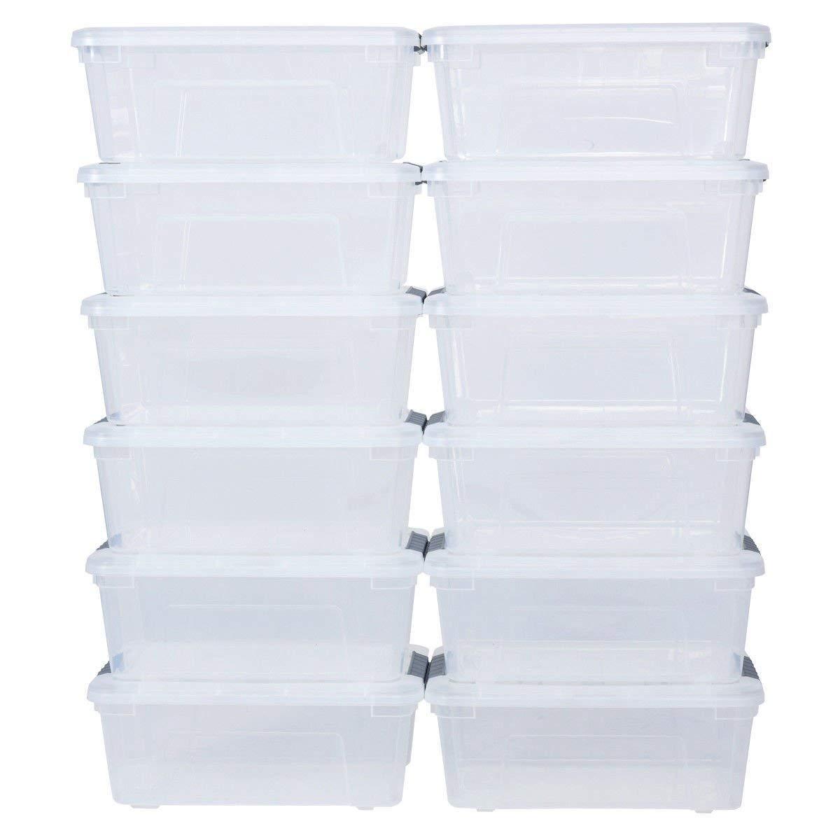 Cypressshop Plastic Storage Tote Boxes 144 Quart 156Liter Latch Stack Storage Box Transparent Tubs Bins Latches Handles Stackable Set of 12 Home Organizer