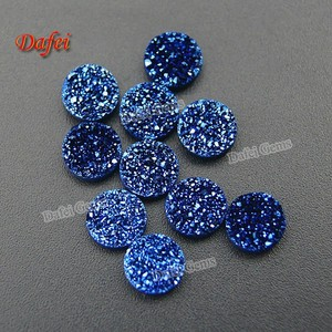 Factory Blue Round 10.0mm Natural Agate Druzy Stone