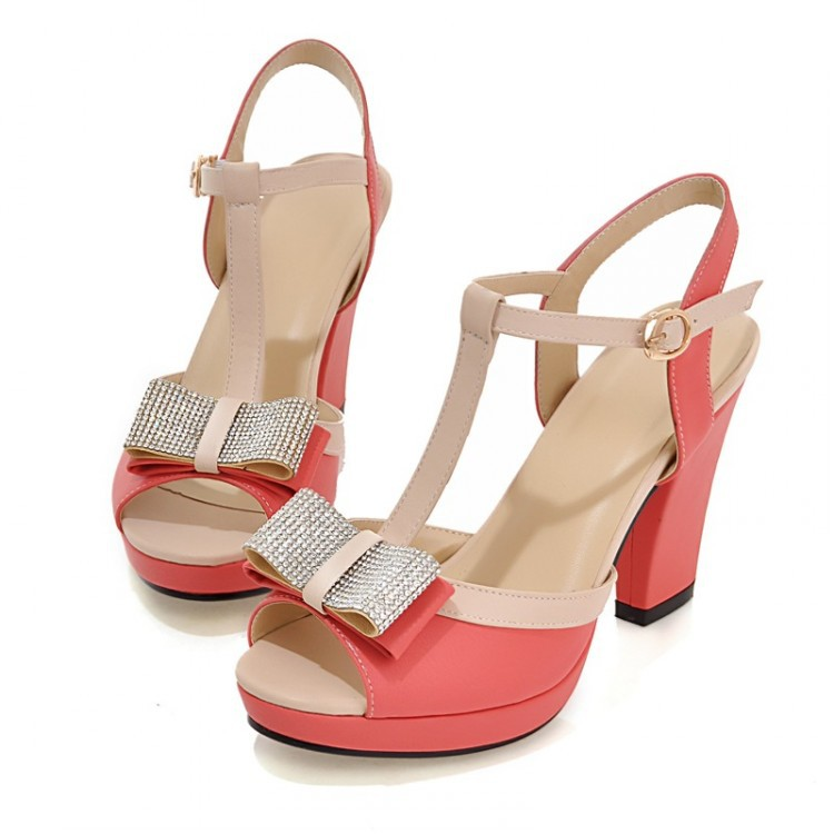 Get Quotations · Email College sweet elegant bow peep toes t-Sandals candies  shoes waterproof rough high heels - Cheap Sweet Heels, Find Sweet Heels Deals On Line At Alibaba.com