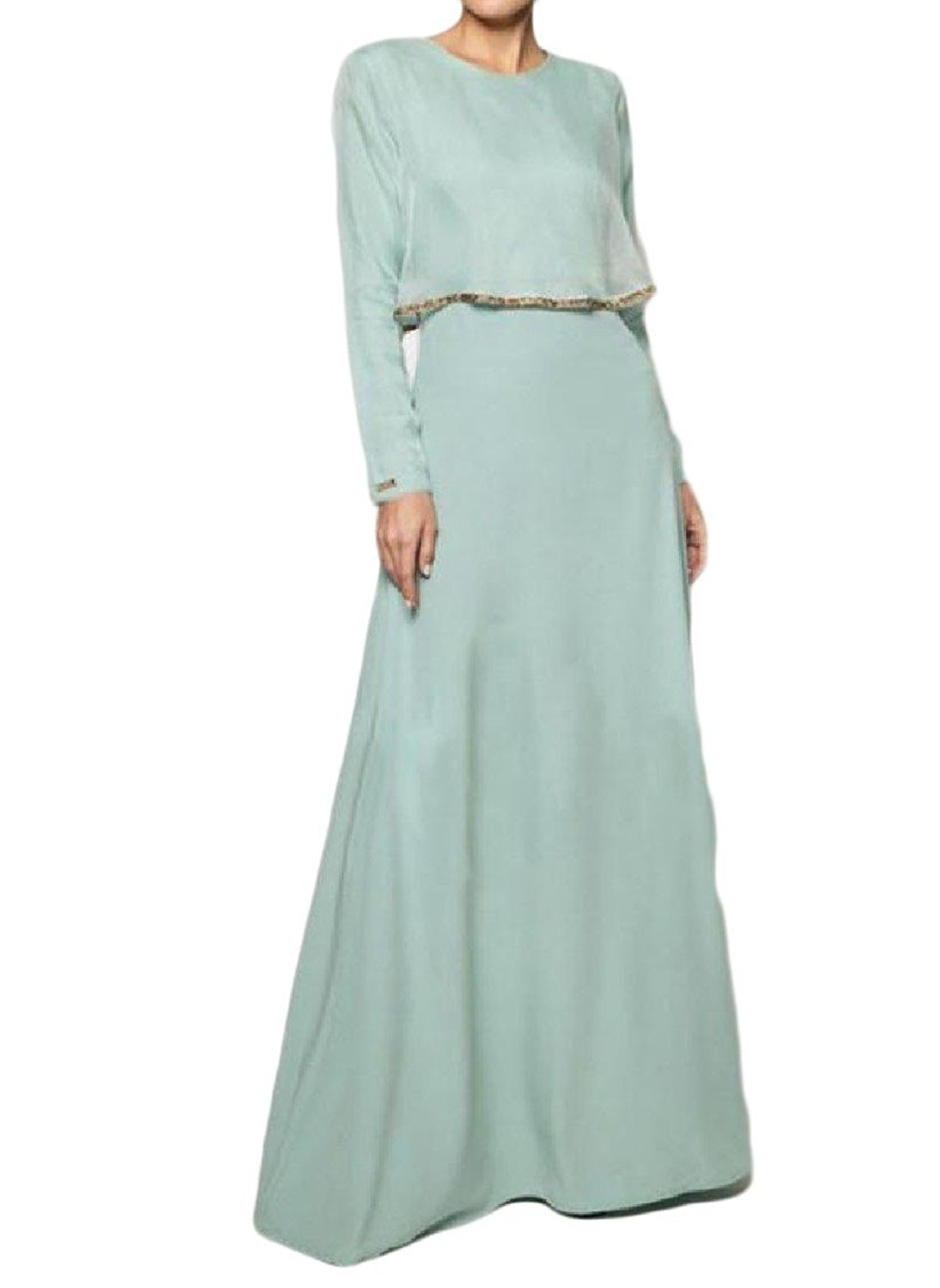 Zimaes-Women Muslim Islamic Solid Colored Fit Vogue All-Match Long Dress