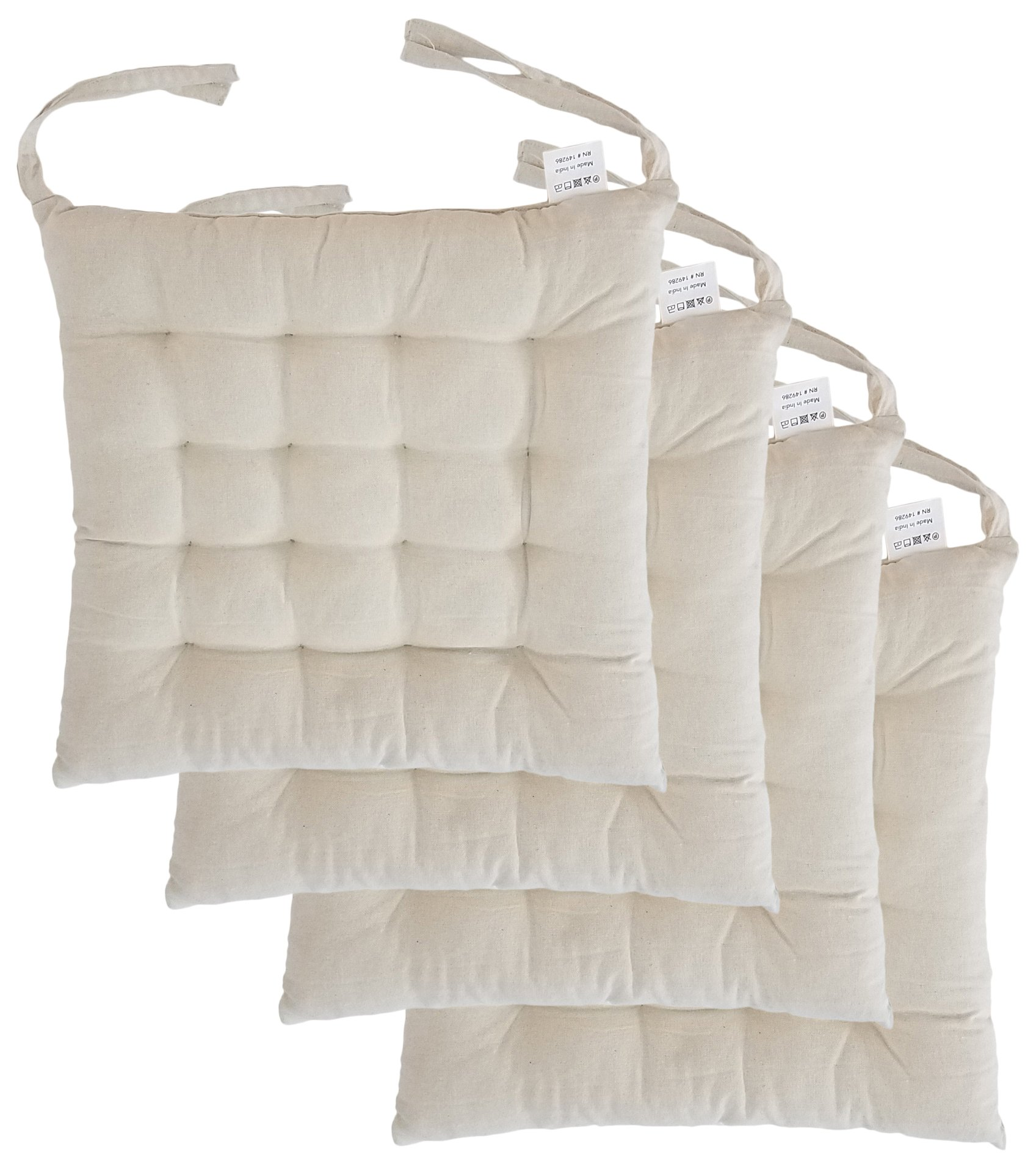 """Cottone 100% Cotton Chair Pads w/ Ties (Set of 4)   16"""" x 16"""" Square   Extra-Comfortable & Soft Seat Cushion   Ergonomic Pillow for Rocking, Dining, Patio, Camping, Kitchen Chairs & More (Light Beige)"""