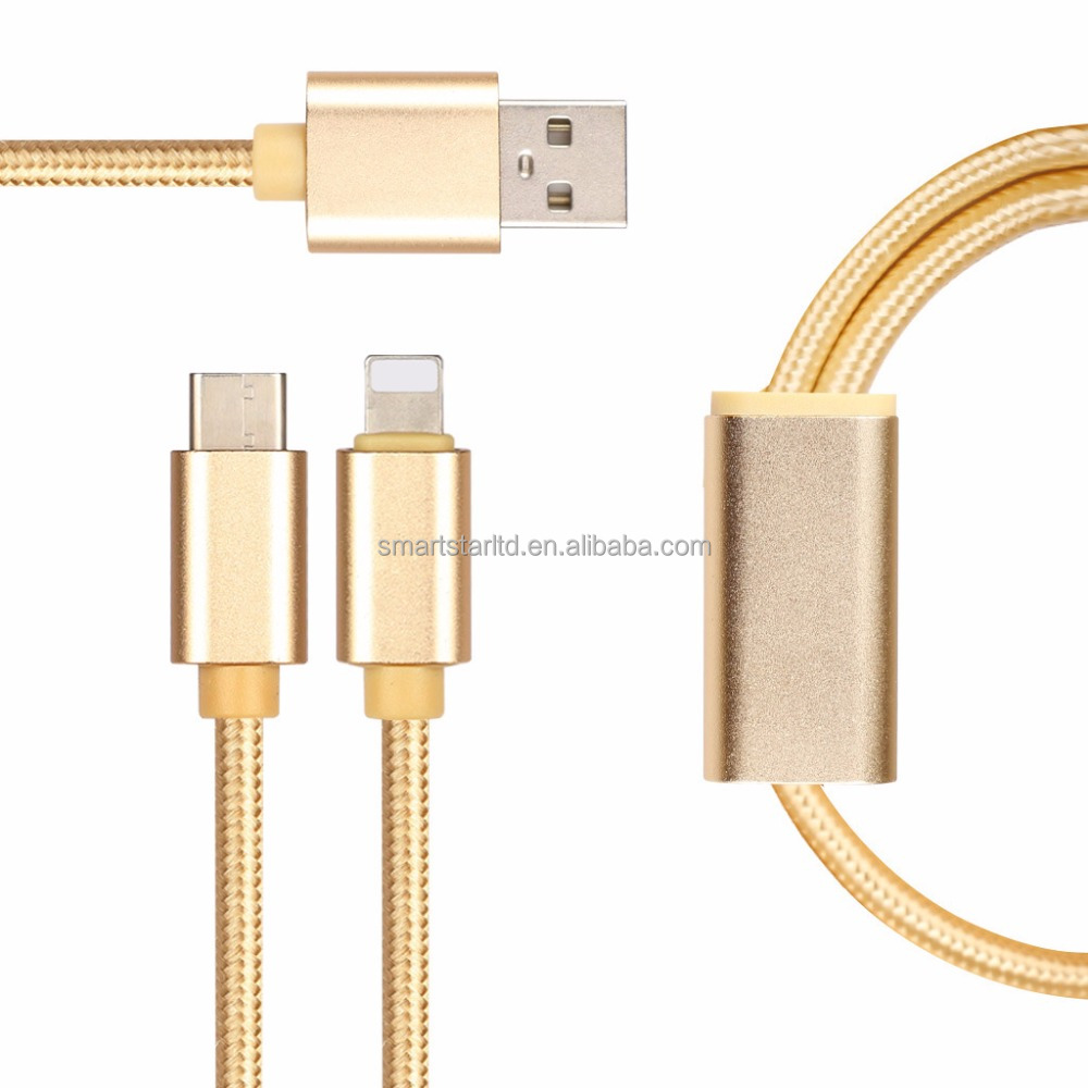 HIgh speed 2 in 1 type C usb cable sync date&charging for sumsung, camera, computer