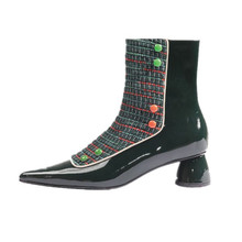 6ac167abf1f607 2019 neue Frauen Kurze Chelsea Stiefel Spitz Vintage Grün Runde High Heels  Botines Mujer Farbe Schnalle