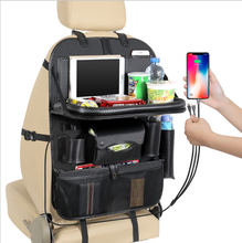 Multi-functional Leather 카 Seat 백 Storage Bag 주최자 Universal Tidying Kids Safety 폰 Holder 와 USB Charging Port