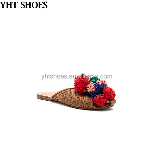 slippers slide genuine women flat slides sandals leather pom red women Knitting vRqAWA