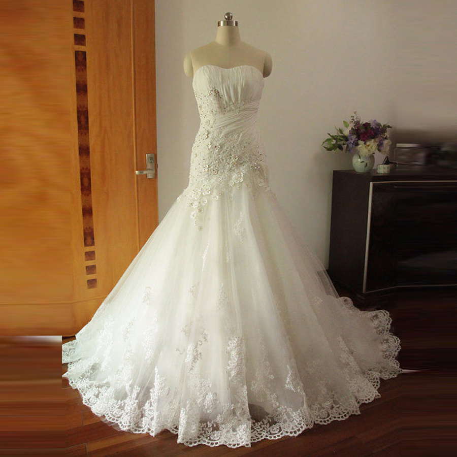 Wedding Gowns In China: Real Image Lace Ruffle Wedding Dresses Organza White 2016