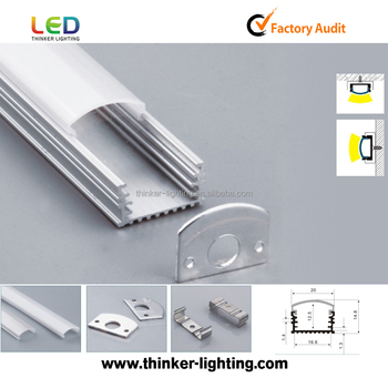 Aluminum profile for flexible led strip with accessories