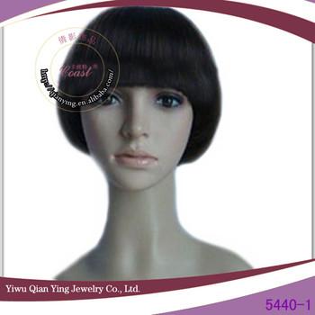 Cheap Short Straight Black Bob Mushroom Hairstyle