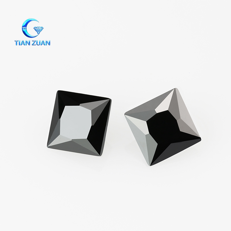 wholesale Lab Created Square Cut Black Cubic Zirconia Gemstone For Jewelry
