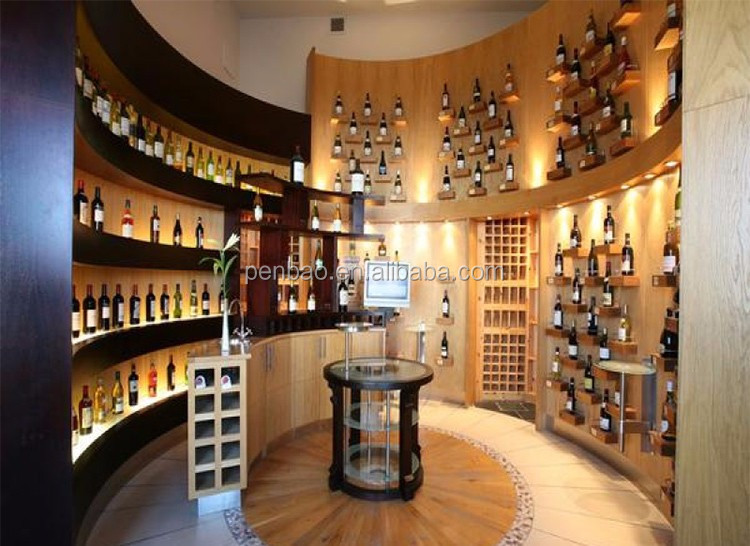 Best design wine display showcase for shopping mall Wine shop decoration