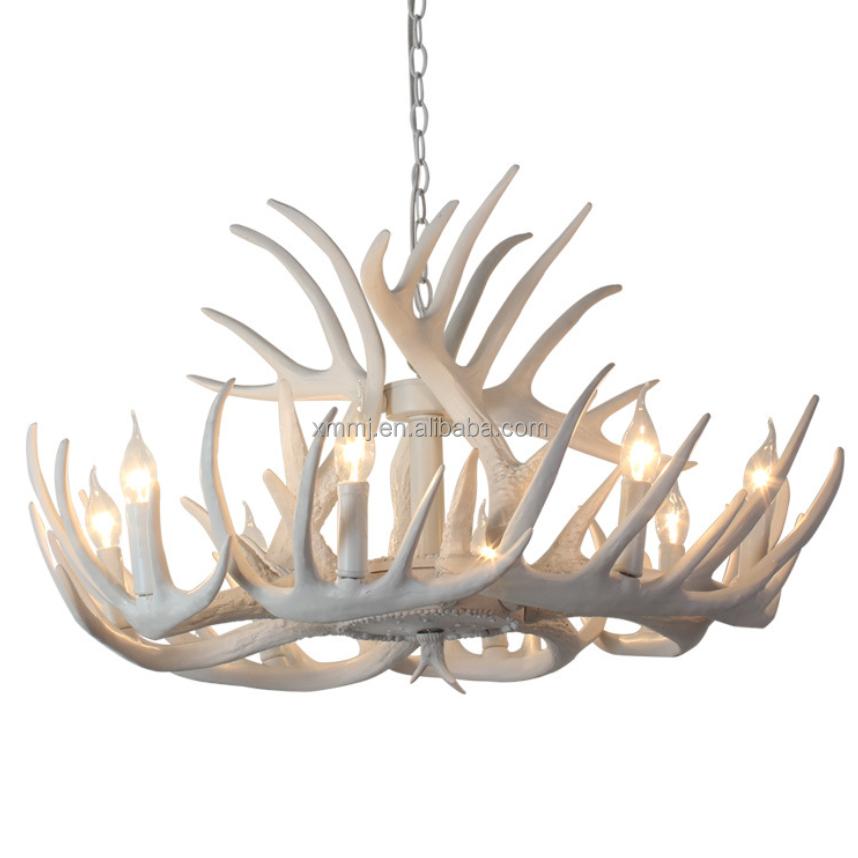 Moderne Handgefertigte Dekorative Weiß Farbige Harz Geweih Kronleuchter  Beleuchtung