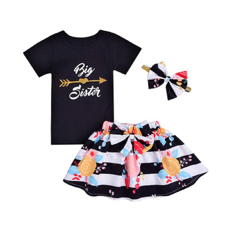 23aa8113ee77 Get Quotations · Winzik Kids Girls 3Pcs Skirt Outfits Big Sister Summer  Short Sleeve T-Shirt Floral Tutu