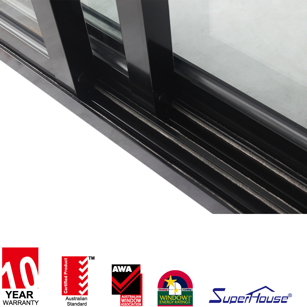 Florida  Hurricane Proof Impact Rated  aluminum frame double glazed sliding door
