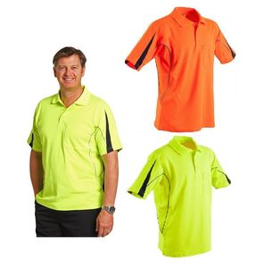 Mens Polo shirt Reflective Short Sleeve sports Work top T-shirt