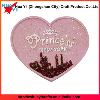 Wedding Souvenir Heart Shaped Pink Color With Glitter Resin Fridge Magnet