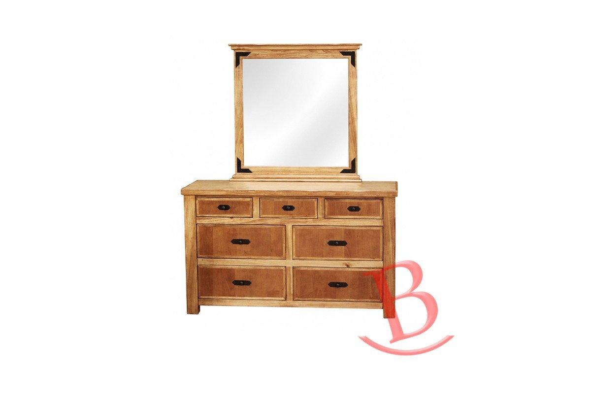 Heath Bedroom 7 Drawer Dresser Mirror Hardwood Rustic Western Lodge