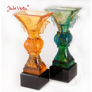 Chinese religion pate de verre liuli trophy color glazed award
