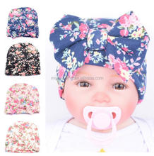 Hot selling Bow tie knitted baby cap / Newborn baby comfortable hat