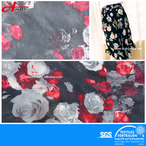 100% Polyester Printed Floral Chiffon Fabric For Dresses