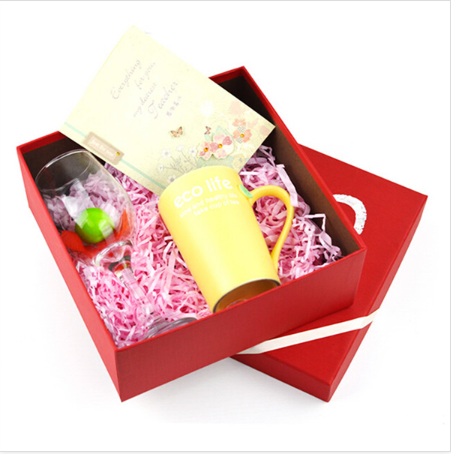 customize red lid and bade paper box for cup