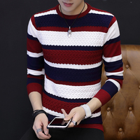 crew neck vertical stripe boys 2019 new arrival autumn winter thick custom fit cotton jacquard man sweater