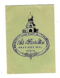 Air Officers Mess Thanksgiving Dinner 1945 Menu Hastings Mill India Air Base