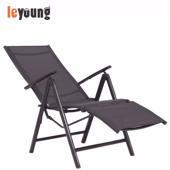 Outdoor Adjustable Folding Recliner Chaise Lounge Chair W/ Foot Rest