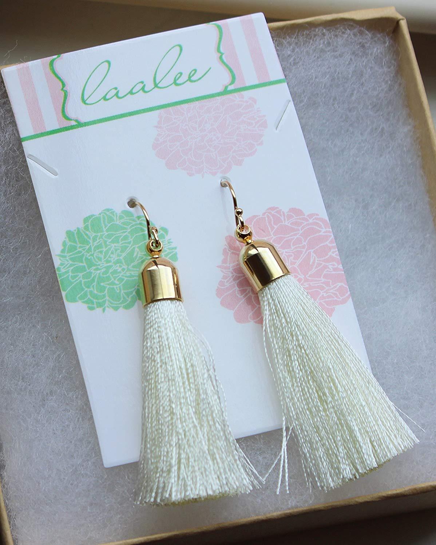 0c0a6fc8320cab Get Quotations · Cream Tassel Earrings, Ivory Fringe Earrings, 14k Gold  Filled Earwires, 2.25