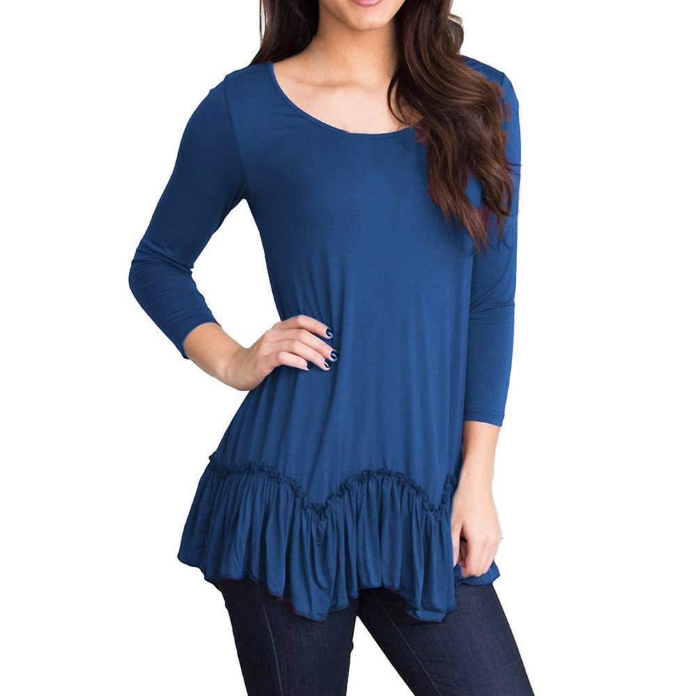 Hosamtel Women T-Shirt 3/4 Sleeve Solid O-Neck Ruffled Pleated Hem Casual Loose Plus Size Blouse Shirt Tops