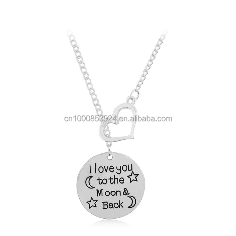 engraved charms necklace i love you to the moon and back custom heart necklace