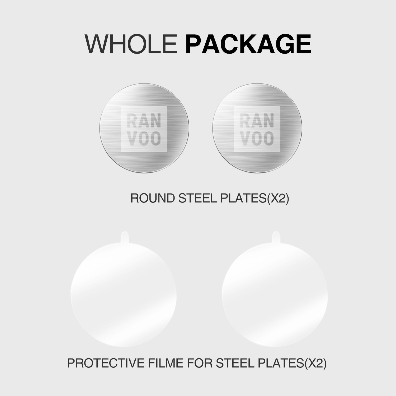 Relplacement Mount Metal Plate Kit, RANVOO Metal Plates for Magnetic Cradle-less Car Mount with 3M Adhesive - 2 Transparent Sticker & 2 Round Metal Plates (Compatible with RANVOO Magnetic Car Mounts)
