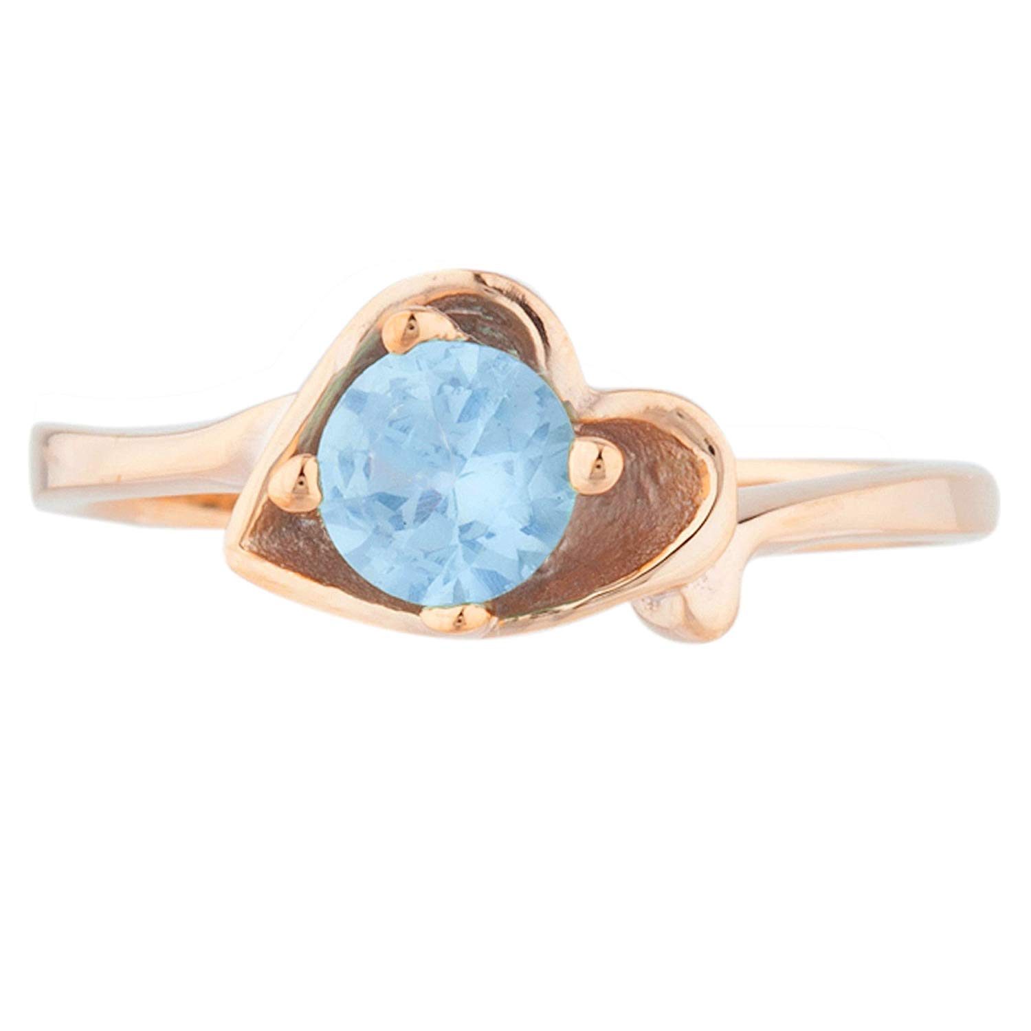 0.50 Ct Blue Topaz Round Heart Shape Ring 14Kt Rose Gold Plated Over .925 Sterling Silver
