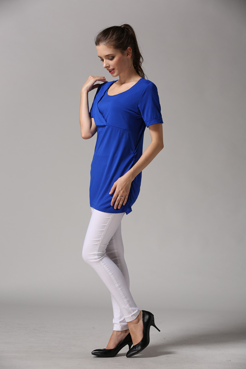 Summer Wholesale Maternity T shirt Good Stretch Breastfeeding Clothes Ruching both sides for Pregnant Women Drop Shipping