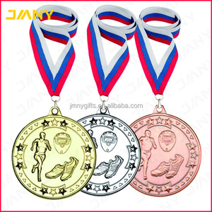 Custom Gold Silver and Bronze Die Cast Running Award Medals with Ribbon