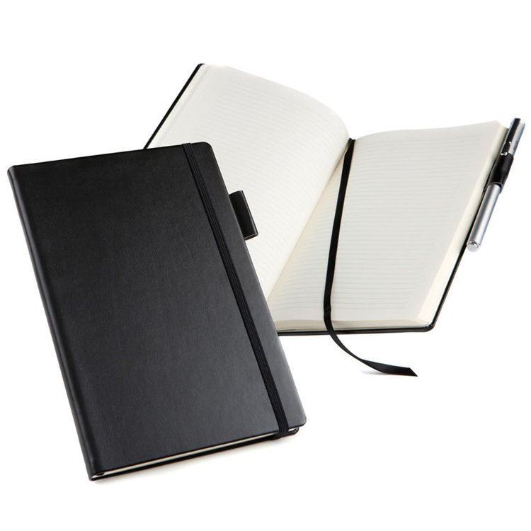 Good selling Black leather bound lined notebook journal with elastic band
