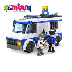 Creative building block toys diy plastic police set blue fire truck toy