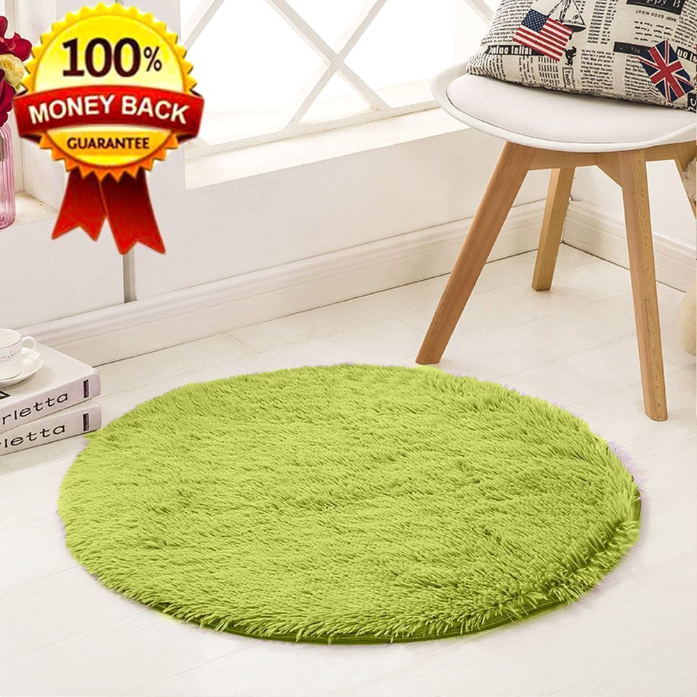 SANMU Soft Round Rug,Fluffy Silky Carpet Fashion Color Smooth Bedroom Mats Round Shag Floor Pad for Girls Bedroom Decorate and Indoor Use,4 Feet,Green