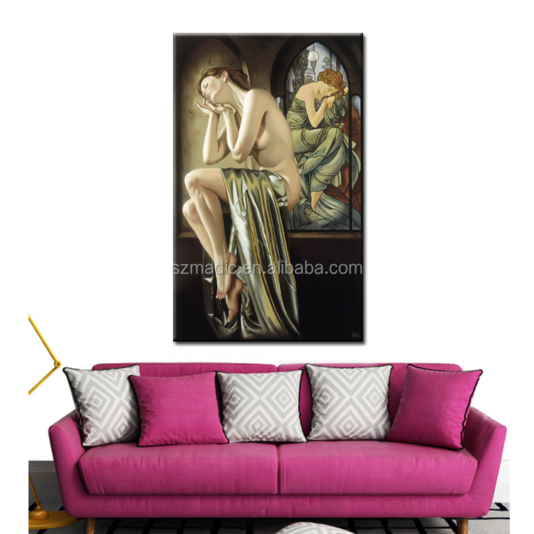 Classical Oil Painting on Canvas Bedroom Room Wall Decoration Nude Woman Body Painting Arts and Craft