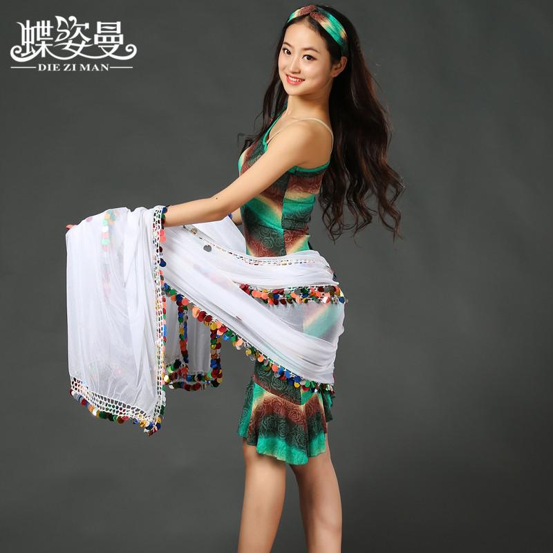 SJ004 Performance Professional belly dance Linen veil for girl