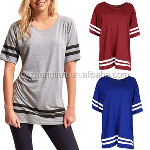 2018 New Design Women Fashion Short Sleeve Color Block Clause Blouses T Shirt Tunic Tops