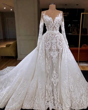 Bridal Sheer Long Sleeve Wedding Dress Mermaid Gown 2019