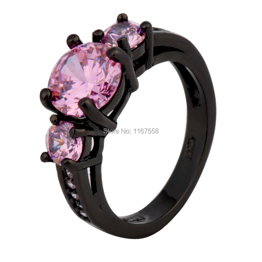Black Gold Filled Rings Pink Sapphire 14KT Finger Rings For Women Fashion Jewelry  Anillos Size 6/7/8/9/10 High Quality