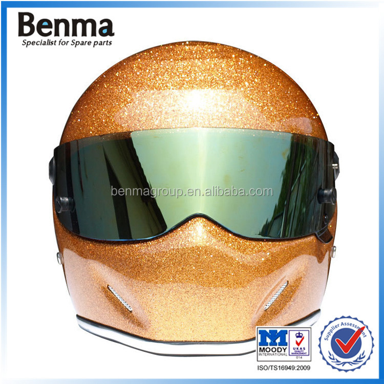 Twinkle blue&gold glass steel motorcycle warm winter helmet,fashional racing motorcycle full face helmet