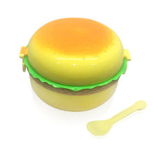 3 layer compartiment tier <span class=keywords><strong>hamburger</strong></span> vorm <span class=keywords><strong>plastic</strong></span> kinderen bento lunchbox