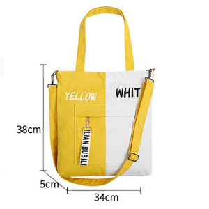 Korean style new design fashion eco friendly canvas zippered tote bag with custom logo