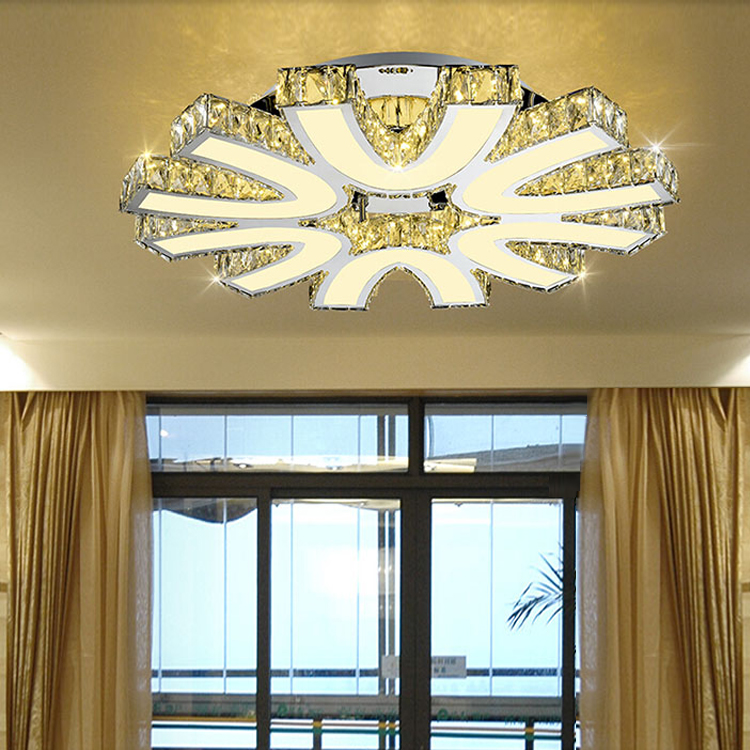 LED Crystal Flush Mounted Lamp Crystal Chandeliers Ceiling Light