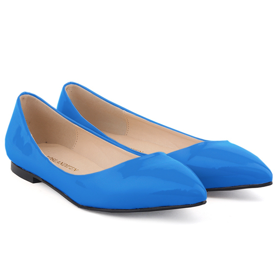 Get Quotations · SKY BLUE CUTE GIRLS FAUX LEATHER PATENT FLATS DOLLY BALLET  WOMENS SHOES MIX US SIZE 7